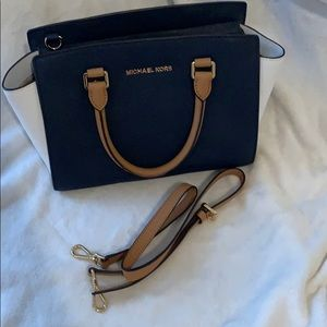 Michael Kors Bags - Navy blue & white Michael Kors Medium Selma Bag